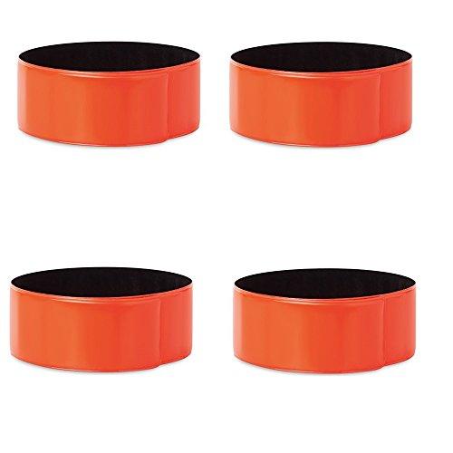4er Set Reflexbänder - Reflektorband Schnapparmband Reflektierendes Armband - in verschiedenen Farben (Orange) by Libetui