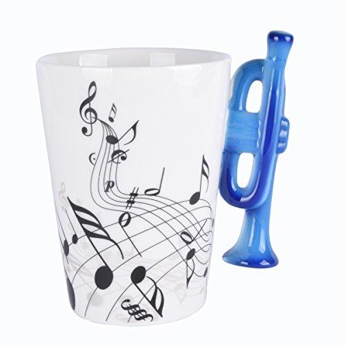 Trompete Musik Einzigartige Art Noten für Tee Kaffee Milch Keramik Tasse Cup 300ml Best Geschenk, Schwarz