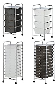 VonHaus 4 Drawer Storage Trolley for Home Office Supplies or Make-up & Beauty Accessories - Includes Free 2 Year Warranty- Black