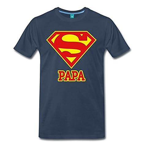 DC Comics Superman Logo Papa T-shirt Premium Homme de Spreadshirt®, XXL, bleu marine