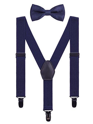 WANYING Kinder Baby Hosenträger Fliege Set 1-5 Jahre Jungen Mädchen 3 Schwarz Clips Y-Form Elastisch Hosenträger für Kleinkind - Marineblau (Kleinkind, Junge Kleid, Schickes)