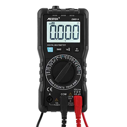 Akozon Multímetro Digital DM91A Mini Voltímetro AC/DC de Alta Precisión 9999 Cuenta Tester-Retroiluminación Linterna Fusibles de Iluminación Alarma de Soplo-Identificación de FireWire-VFC-NCV