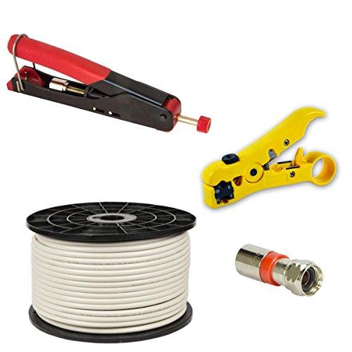 Kompressionszange Crimpzange Zange + Abisolierwerkzeug Abisolierer + 50x XCon S2 F Kompressionstecker für 7 - 7,5mm Sat Kabel + 100m PremiumX Basic Koaxialkabel Antennenkabel koax koaxial