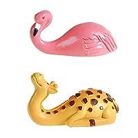 TOPBATHY 2pc Giraffe Hooks For Wall Hanging Hat Hook Creative Resin Wall Hanger Artware Home Furnishing Craft (Giraffe + Flamingo)