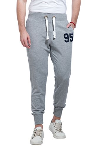 Alan Jones Clothing Men's Cotton Solid Jogger Track Pants (Melange, Large)