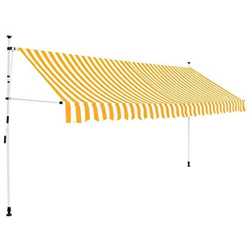 fallarmmarkise 3m WT Trade Premium Klemmmarkise Einziehbare Markise mit Handkurbel | 100% UV-beständig | Balkon Beschattung Sonnenschutz ohne Bohren | Balkonschirm Manuell höhenverstellbar (400 cm, Gelb und Weiß)