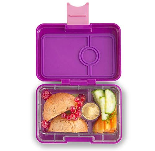 Yumbox Mini XS Snackbox (Bijoux Purple, 3 Fächer) - Kleine Kinder Bento Box   Brotdose mit Trennwand   Für Krippe, Kindergarten