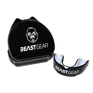 Beast Gear Mundschutz / Zahnschutz – Für Boxen, MMA, Rugby, Kickboxen, Judo, Karate, Hockey & Kampfsport. Sportmundschutz mit Praktischer Aufbewahrungsbox. Schützt Zähne, Zahnfleisch & Kiefer.