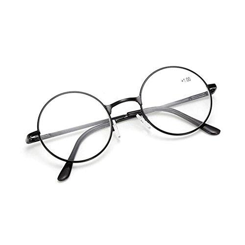 Meijunter Retro Männer Frauen runde Lesebrille Metallrahmen Brille/Stärke:+1.0 to +4.0