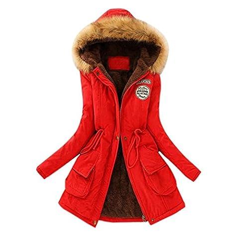 Lange Kapuzenpullover Damen Hirolan Frauen Warm Faux Pelz Kragen Jacke Schlank Winter Parka Plüsch Outwear Kaschmir Pullover Kaputzenpulli Baumwolle Wattiert Jacke (XL, Rot)