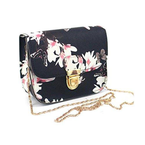 Manadlian Femmes papillon fleur impression sac à main sac à bandoulière fourre-tout Messenger Bag (A, Noir)