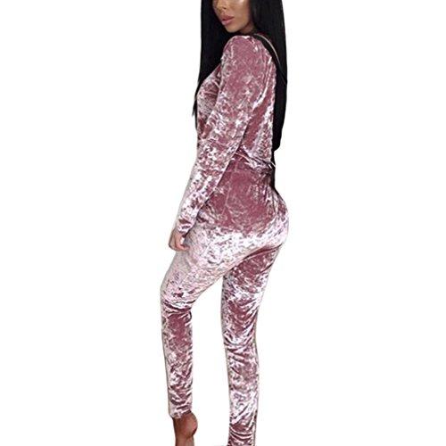 Kragen Twin-set (Trainingsanzug Set Damen, DoraMe Frauen Crushed Samt Lounge Anzug Lässige Sweatshirt Langen Ärmeln Warmen Hohen Kragen Pullover + Hosen (Rosa, Asiatische Größe L))