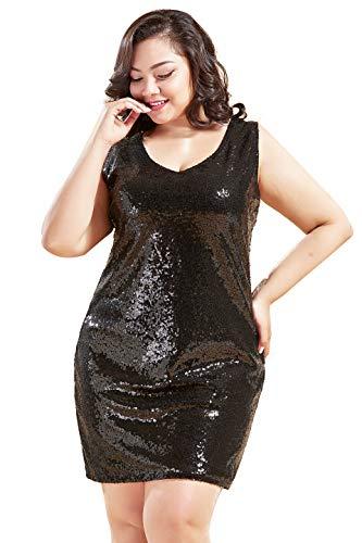 Coucoland Damen Pailletten Kleid Plus Size Ärmellos Glitter Cocktailkleider Große Größen Damen Karneval Fasching Kostüm Kleid (Schwarz, - Plus Größe Ärmellos Kostüm