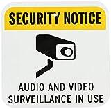 qidushop Señal Decorativa de Seguridad con Texto en inglés Aviso de Seguridad Audio Video vigilancia en Uso Negro Amarillo Sobre Blanco Aluminio Metal Letrero Yard Valla, Regalo 30 x 30 cm