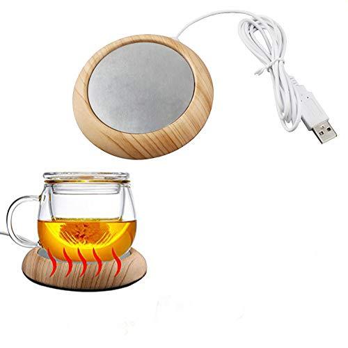 USB Becher Wärmer Cup Heizung Holzmaserung Wärmer Milch Tee Getränk Wärmer Untersetzer gut für Zuhause und unterwegs (70-80℃ |158-176℉) Light Wood Grain