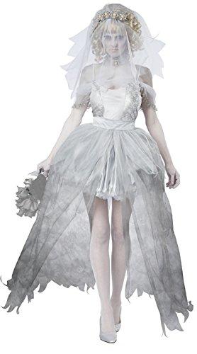 Damen Herren Geisterbraut/Geisterbräutigam Kostüm für Halloween Karneval Fasching Kleid mit Schleier Cosplay (Erwachsene Wunder Frau Für Tutu)