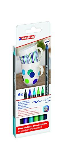 edding 4200 Porzellan-Pinselstift (auch für Glas und Keramik) - kalte Farbtöne - Farb-Set mit 6 Farben - Porzellan-Brushpen zum Bemalen und Beschriften von Geschirr, Tassen und ofenfestem Glas - Fasermaler mit flexibler Pinselspitze: 1 - 4 mm