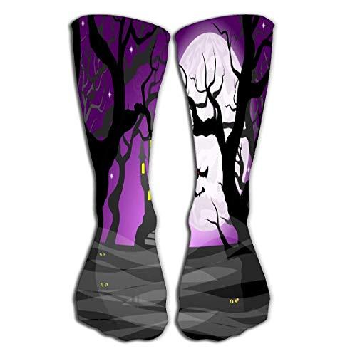 ts Men Women High Socks Stocking Dark Ghostly Forest Full Moon Lovely Tile Length 19.7
