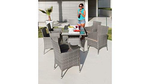 baumarkt direkt 13tlg. Gartenmöbelset Santiago, 6 Sessel, Tisch 150x80 cm, Polyrattan grau