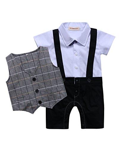 Kidsform Baby Strampler Junge Kleidung Baumwolle Outfit Bekleidungssets Hochzeit Anzug Sommer Bodysuit   6-9M(70 cm),  Weiß