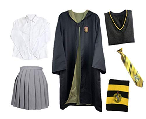 Fanessy. Kinder Erwachsene Umhang Kostüm Für Harry Potter,Fancy Dress Cosplay Outfit Set Zauberstab Krawatte Schal Brille Hut Hemd Rock Karneval Verkleidung Fasching Halloween 105-185 (Halloween-kostüme Hermine Granger)