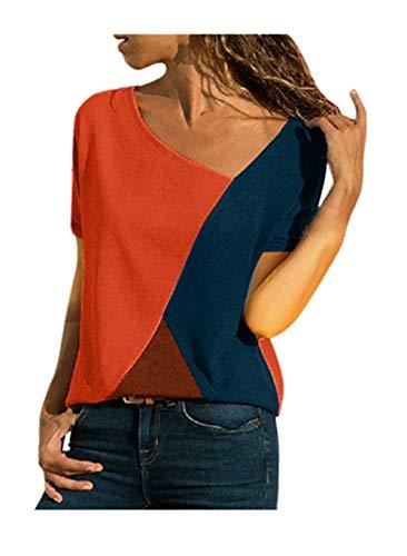Fannyfuny Damen Casual Leopard Patchwork Farbblock Langarm T-Shirt Asymmetrischer V-Ausschnitt Langarmshirt Tops Sweatshirt Tunika Top Pullover Bluse ()