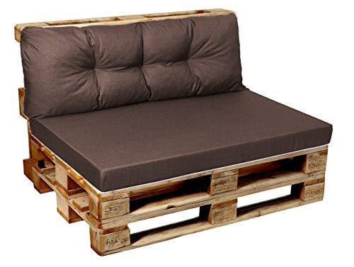 Garden factory Coussins pour Canape Euro Palette, Assise, Dossier, Set, extérieur intérieur Coussin accoudoir 60x50 Marron