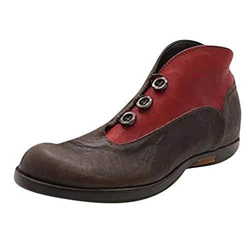 Stiefeletten Damen Sommer Sandalen Low Top Ankle Boots Kurzschaft Stiefel Schuhe Bequeme Retro Halbschuhe Elegant Schuhe Römersandalen (EU:41, Rot) -