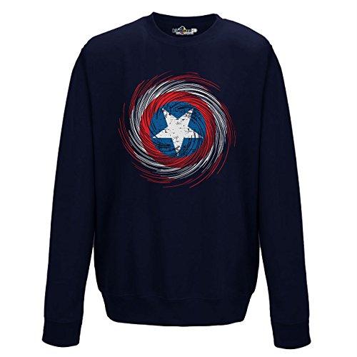 Sudadera de cuello redondo de hombre, con símbolo del Capitán América, película, cine, cómic, New French Navy Blue