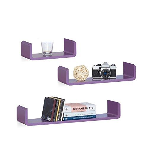 Relaxdays 10021809_131 Étagère tablette flottante murale en forme de U lot de 3 en MDF compartiment coloré, violet