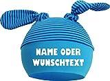 KLEINER FRATZ Baby 2-Zipfel Mütze (Farbe aqua-kobalt) (Gr. 1 (KU: 35-42) (Gr. 56-74) mit Ihrem Wunschtext