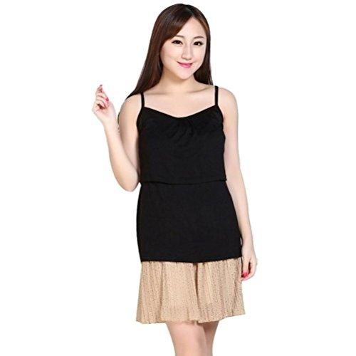 Blouses et chemises, Amlaiworld Suspenders enceintes Vêtements de maternité Nursing Tops T-shirt allaitement Vest Noir