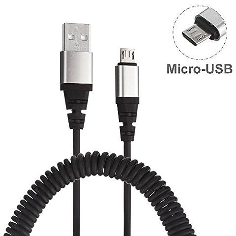 Ressort hélicoïdal de première qualité,USB câble de chargement Type-C. Câble à spirale USB 2.0 à Type-C avec des connecteurs plaqués en aluminium pour une durabilité accrue (charge uniquement)