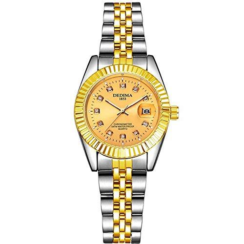 ZSDGY Reloj Dorado para Pareja, Reloj Impermeable con Calendario de Banda de Acero, Reloj...