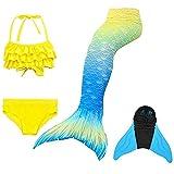4 Piezas de Traje de baño para niñas con Colas de Sirena con Monofin, Colas de Sirena Incluidas + Conjunto de Bikini + Aleta, natación Real