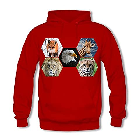 Men's Front Pocket Pullover Hoodie Sweatshirt - [Giraffe/Lion/Bald Eagle/Leopard/Fox] Animal Series Long Sleeve Tops Red 2XL