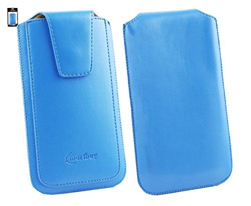Emartbuy® Vonino Zun XO Smartphone Sleek Serie Light Blau Luxury PU Leder Tasche Hülle Schutzhülle Case Cover ( Größe 4XL ) Mit Ausziehhilfe