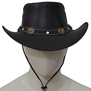 AQWA New Classic Bronze Conchos Western Style Leather Cowboy Fancy Hat Chinstrap (Black, Large)