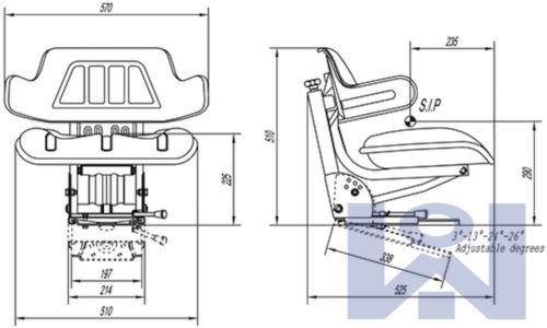 Seggiolino da traino per trattore John Deere - Console angolare e dritto