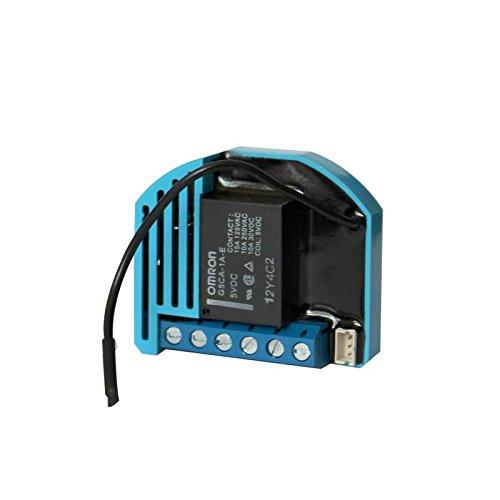 Qubino ZMNHBD1 Flush 2 Schalter Relais Unterputz-Mikromodul EU Z-Wave Plus, Schwarz/Blau -