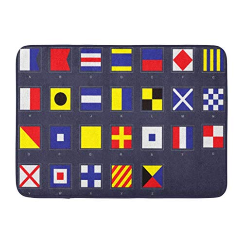 LIS HOME Badteppich International Nautical Flag Chart Code Signal Signalisierung Marine Badezimmer Dekor Teppich Marine Charts