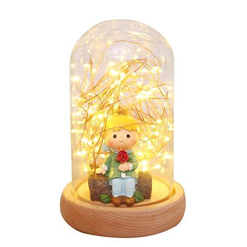 ZHUHFBIK Hauptbeleuchtung Feuer Baum Silber Blume Led Licht kreative Tischlampe Hochzeitsgeschenk Geburtstagsgeschenk Glas runde Abdeckung Lampe