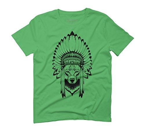 Shaman Wolf Men's Graphic T-Shirt - Design By Humans Green