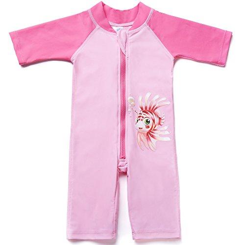 CharmLeaks Baby - Einteiler Halbarm Badeanzug für Säugling Kinder Fisch Druck UV-Schutz 50+ Rosa 6-12 Monate