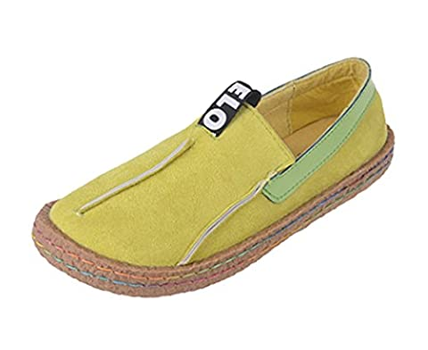 Minetom Women's Round Toe Color Blocked Peas Shoes Soft Sole Slippers Stitching Loafer Flats Ballet Moccasin Work Casual Apricot UK 6.5