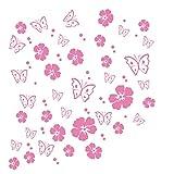 kleb-drauf | 19 Blüten, 19 Schmetterlinge und 42 Punkte | Rosa - glänzend | Wandtattoo Wandaufkleber Wandsticker Aufkleber Sticker | Wohnzimmer Schlafzimmer Kinderzimmer Küche Bad | Deko Wände Glas Fenster Tür Fliese