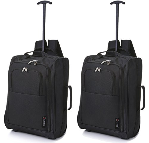 set of 2 wheeled backpack flight approved carry on bag massive 42 litre travel hand luggage 55x355x20 cm super lightweight cabin approved luggage travel