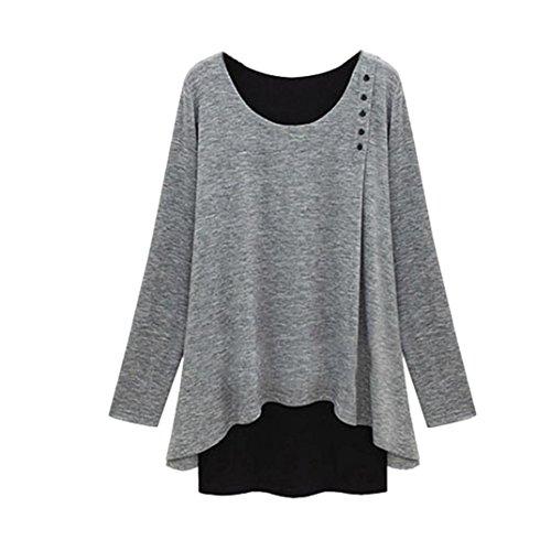 Damen Bluse, GJKK Damen Asymmetrie Saum Langarm Lose Bluse Übergröße Shirt (Grau, L) (Lace Long Sleeve Sweater)