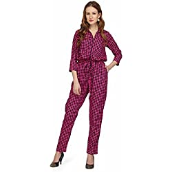 Karmic Vision Women's Crepe Pink Color Printed Casual Jumpsuit