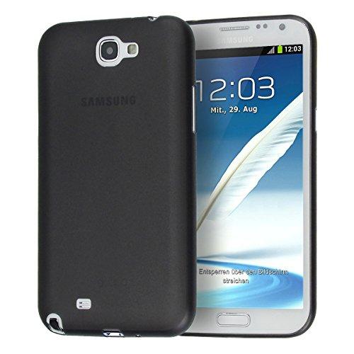 doupi UltraSlim Custodia per Samsung Galaxy Note 2, satinato fine piuma facile mat semi trasparente Cover, Nero